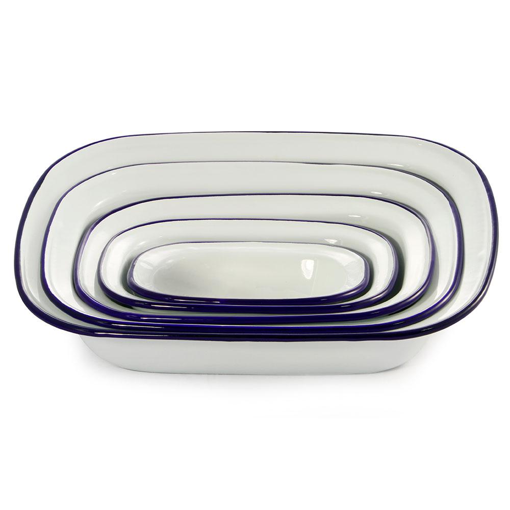 Dishy Enamelware Pie Dish White Blue